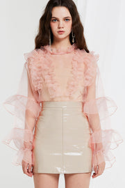 storets.com Quinn Sheer Blouse with Ruffle Detail