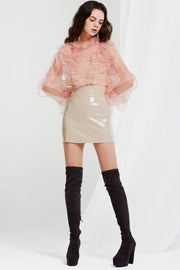 Quinn Sheer Blouse with Ruffle Detail