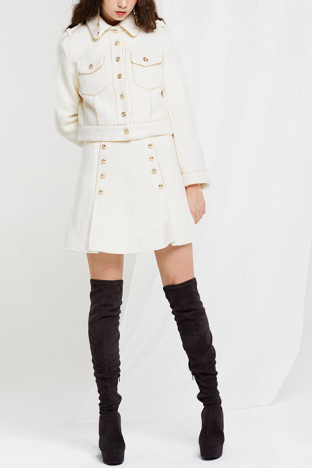 Jae Embellished Trim Jacket and Skirt Set