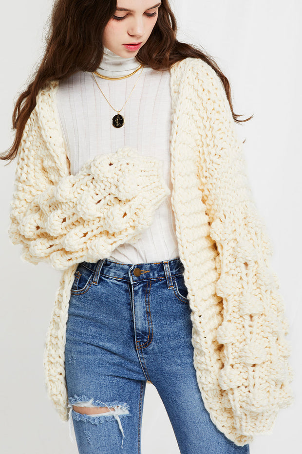 Aurelie Chunky Cable Knit Jacket-3 Colors
