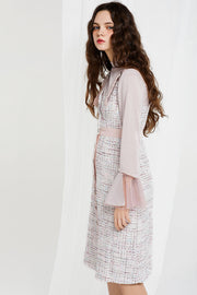 Moa Metallic Half Neck with Tweed Dress