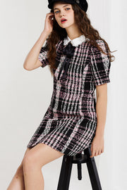Mia Collared Dress in Tweed