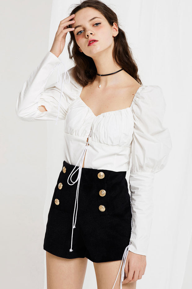 Anna Lace Up Blouse with Puff Sleeve-2 Colors