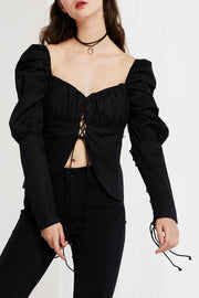 storets.com Anna Lace Up Blouse with Puff Sleeve-2 Colors