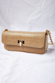 Croc Clutch Purse w/Chain Strap