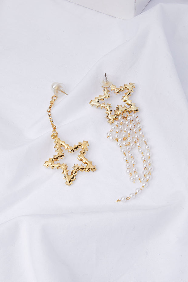 Pearl Beaded Star Drop Earrings