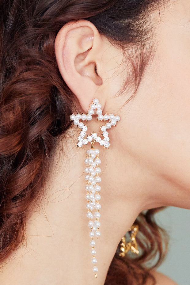 storets.com Pearl Beaded Star Drop Earrings