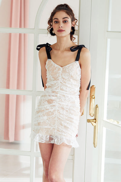 Belle Ruched Lace Dress w/Tie Shoulder