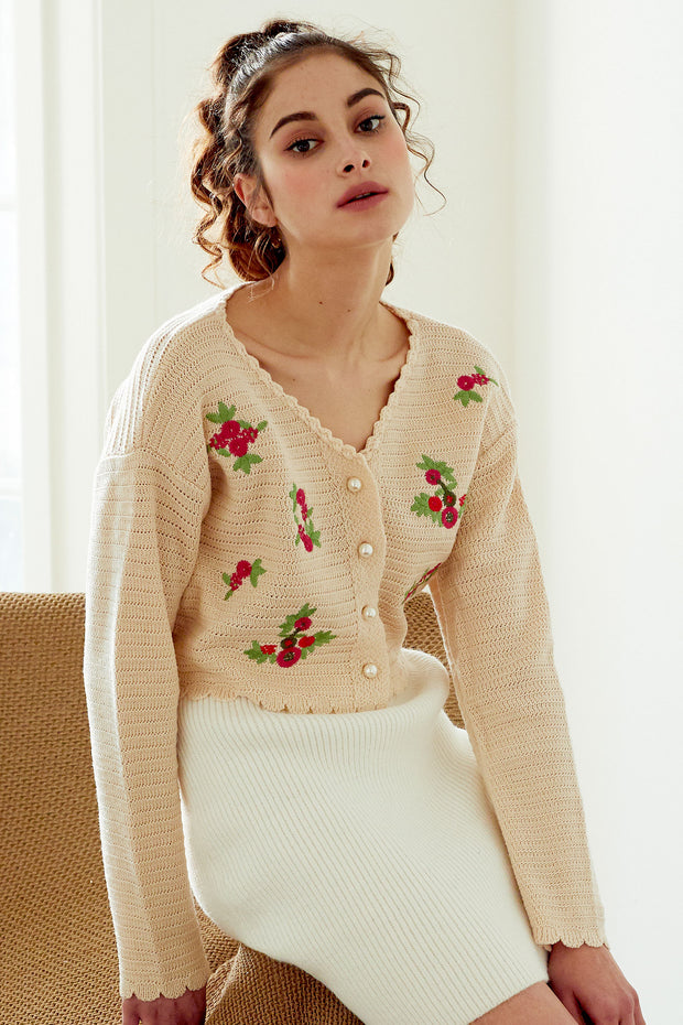 Estella Flower Embroidered Cropped Cardigan