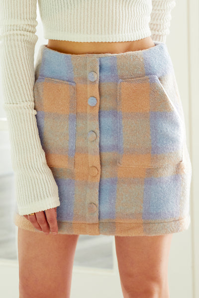 Ella Plaid Woolen Skirt