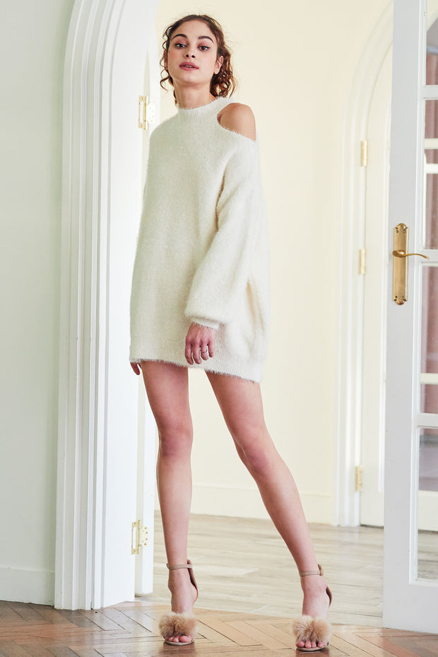 Hazel Cold Shoulder Fuzzy Sweater Dress