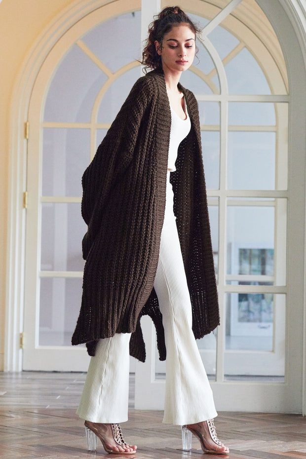 Elliot Ribbed Knit Maxi Long Cardigan
