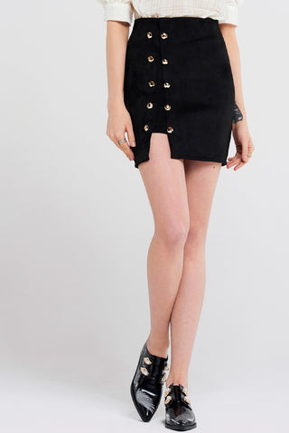Jodie Buttoned Suede Skirt
