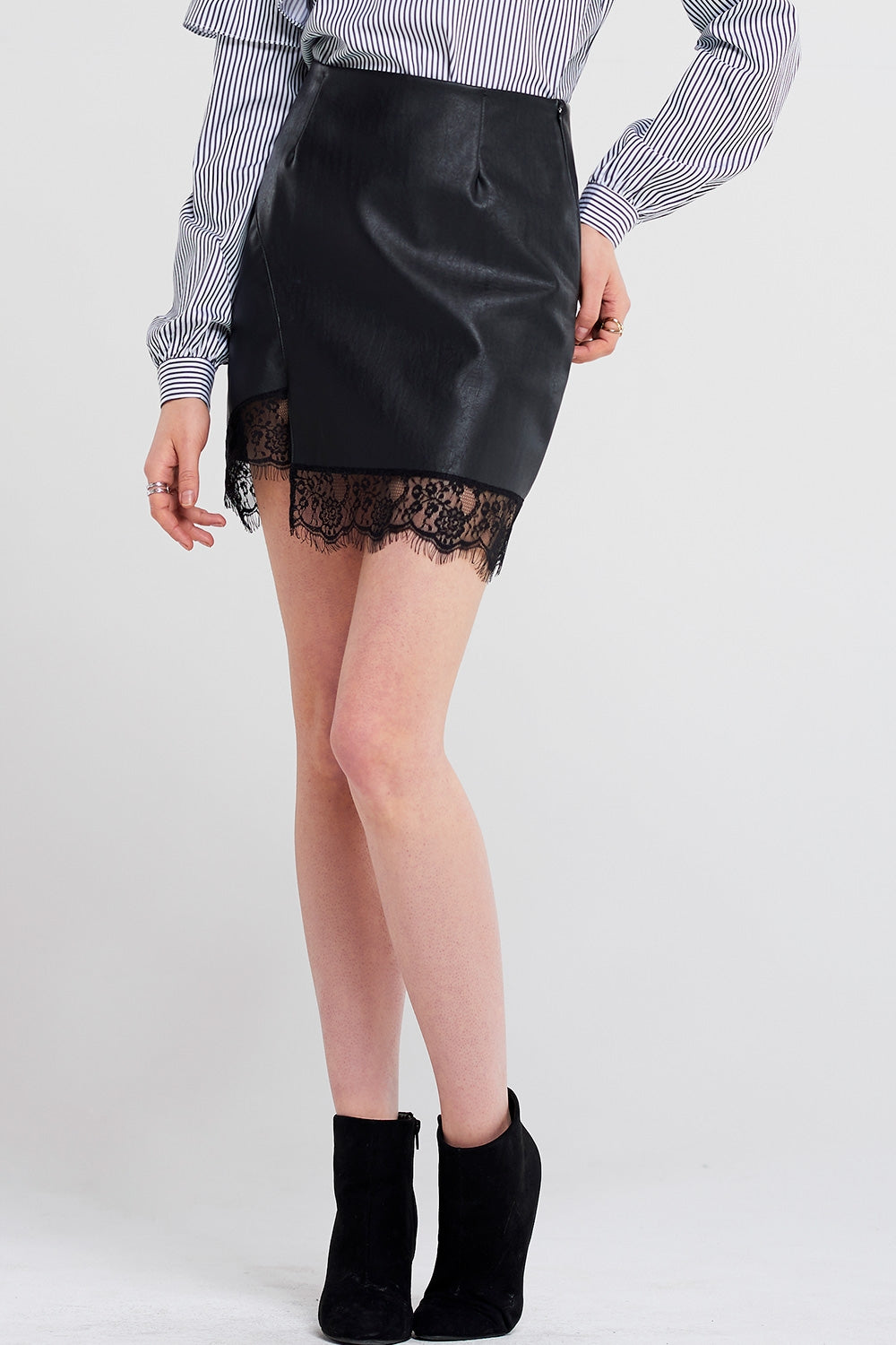 Gina Lace Unbalanced Leather Skirt
