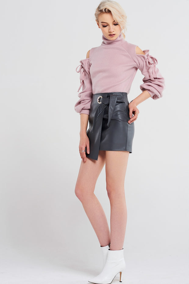 Bonnie Wrap Leather Skirt