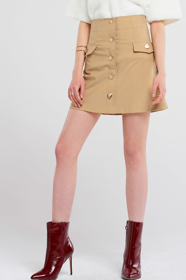 Jennet Gold Button Skirt