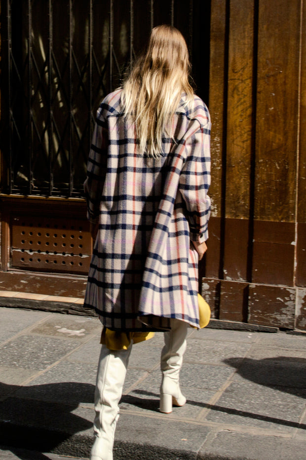 [LETQSTUDIO] Long Checked Shirt Jacket