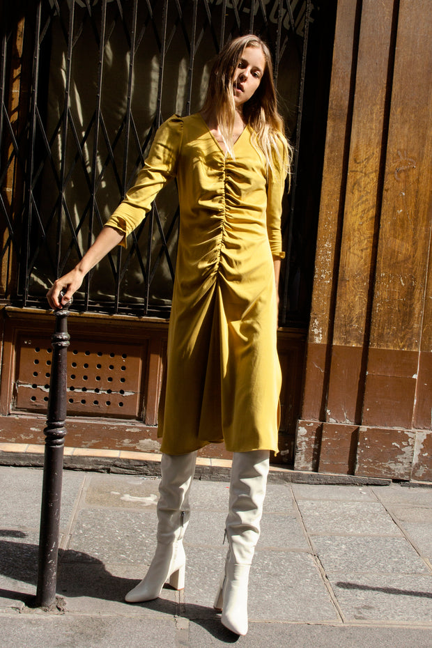 [LETQSTUDIO] Ruched Flare Dress_Mustard