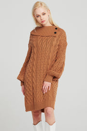storets.com Mila Folded Collar Cable Knit Dress