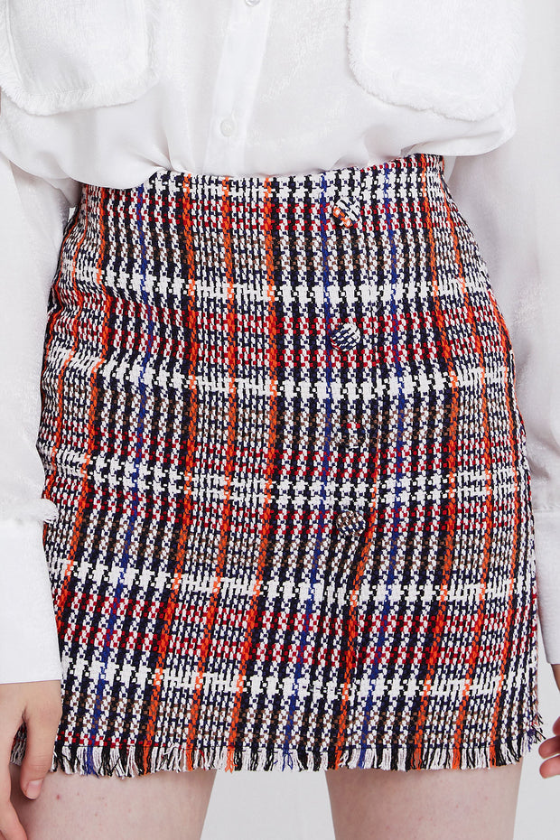 Kaitlyn Buttoned Plaid Skirt