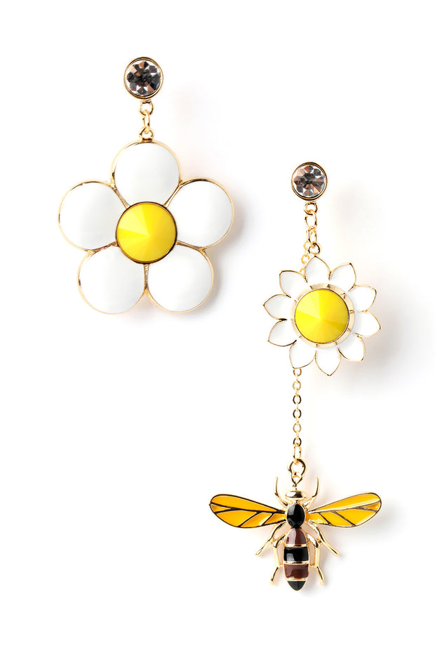 Yellow Flower Bee Earring