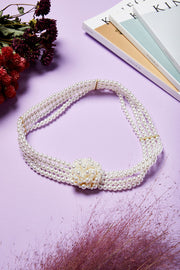 Pearl Beaded Flower Belt by STORETS