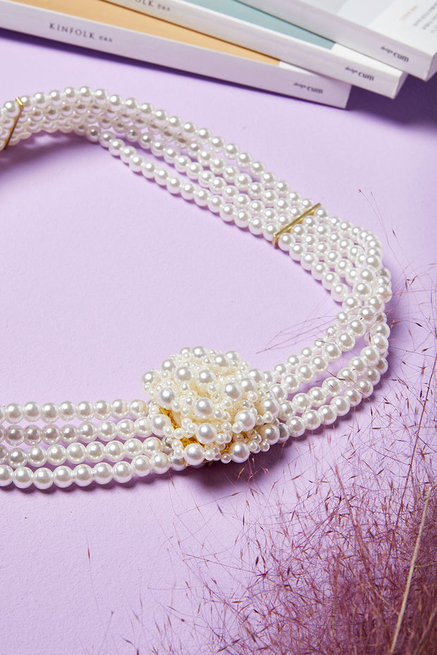 Pearl Beaded Flower Belt