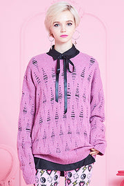 [VVV] DISTRESSED PINK KNIT SWEATER