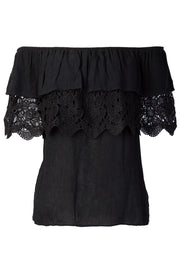 Ally Lace Ruffle Off-the-Shoulder Top