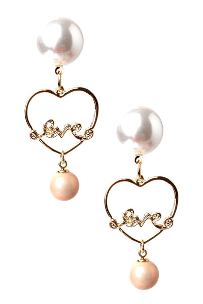 Heart Pink Pearl Earrings