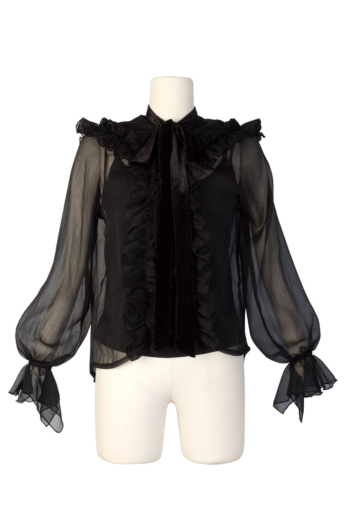 Ashley Ruffle Blouse With Tie