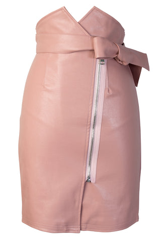 Andrea High Waist Leather Skirt With Belt