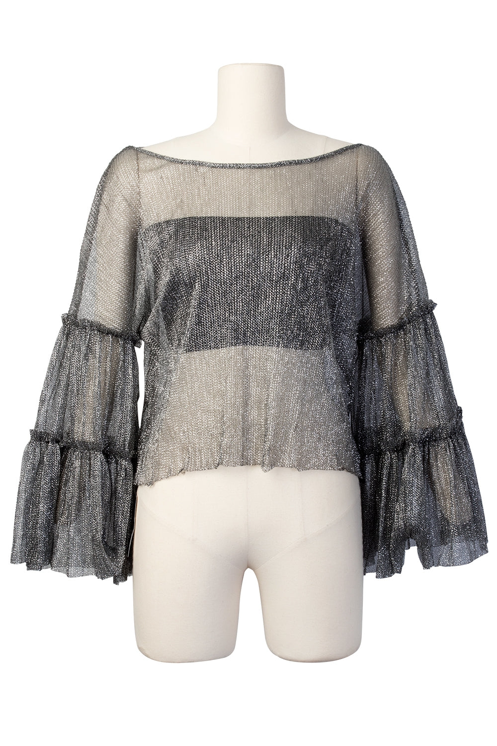 Kate Shine Wide Sleeves Mesh Top