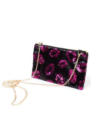Lips Sequin Clutch Bag