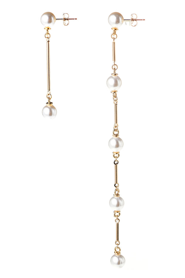 storets.com Unbalanced Pearl Dropped Earrings