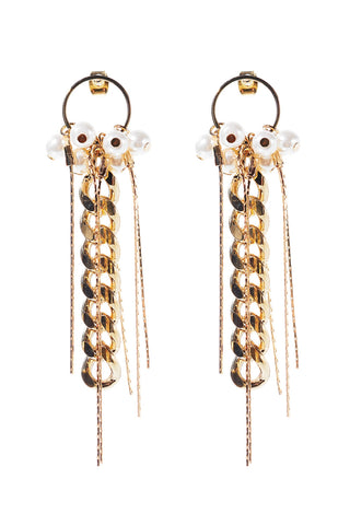 Gold Chain Pearl Earrings