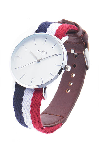 Leather Combo Wrist Watch