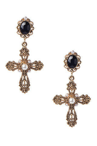 Cross Pearl Button Earring