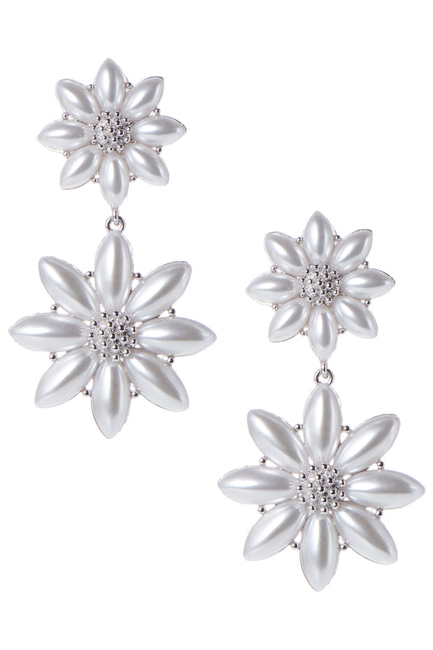 Bold Pearl Flower Earrings