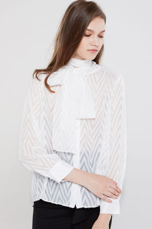 Dina Sheer Chevron Blouse-2 Colors (Pre-Order)