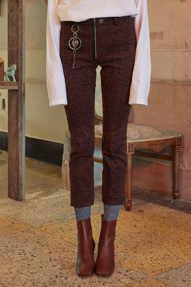 [VVV] DARK RED LEOPARD JEANS