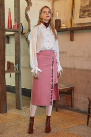[VVV] PINK LOGO TAPE WRAP SKIRT