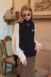 [VVV] BLACK TURTLE NECK KNIT VEST