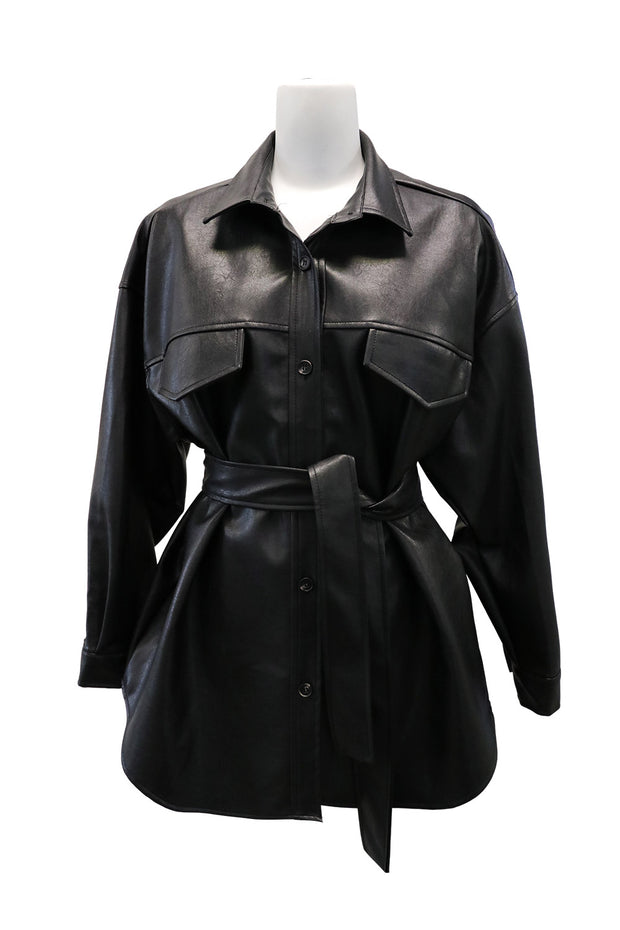 storets.com Rayna Belted Pleather Shirt