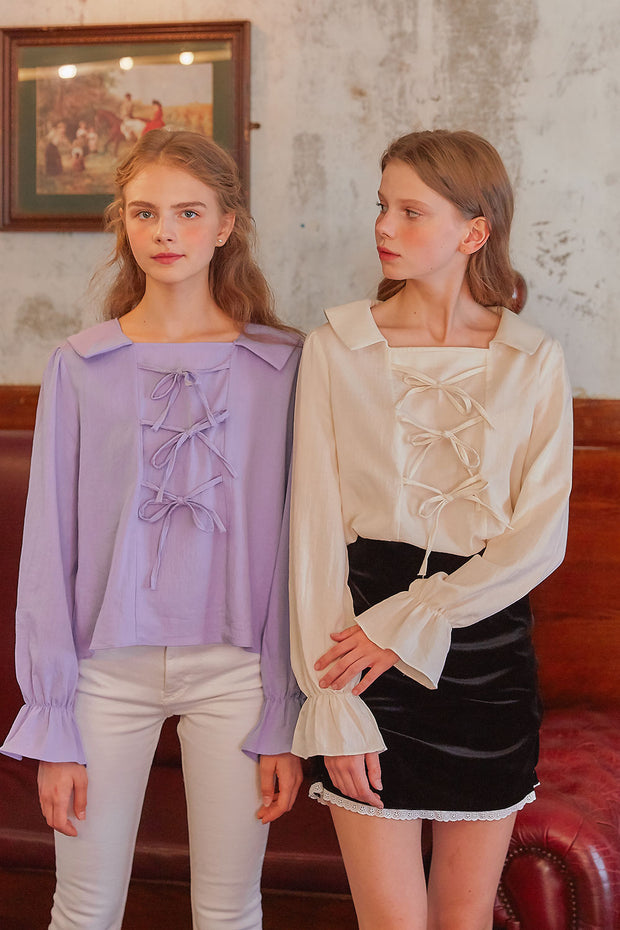[LETTER FROM MOON] Sailor Collar Neck Bow Blouse in Lavender