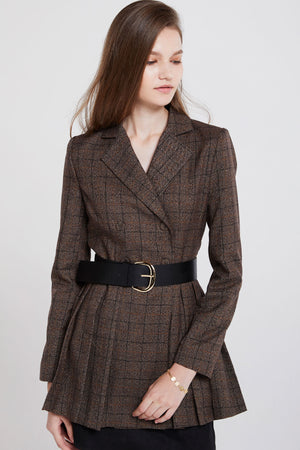Florence Pleated Grid Jacket
