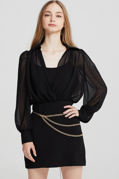 Teagan Chiffon Plunge Dress