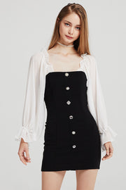 Alexis Jewel Button Dress w/ Frill Top
