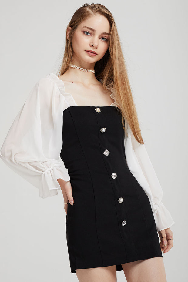 storets.com Alexis Jewel Button Dress w/ Frill Top