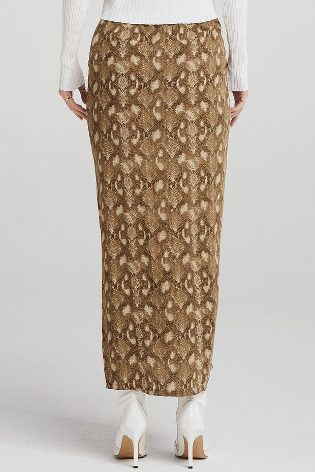 Harley Ruched Skirt in Snake Print